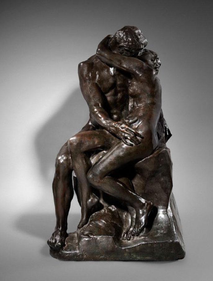 Sculpture bronze antique-style bronze personnage après la Rodin Bisou réplique